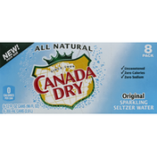 Canada Dry Sparkling Water, Seltzer, Original, 8 Pack