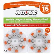 Rayovac Batteries, Hearing Aid, Size 13, Value Pack