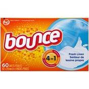 Bounce Fabric Softener Dryer Sheets Fresh Linen 60CT Fabric Enhancers