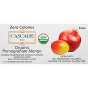 Cascade Ice Sparkling Water, Organic, Pomegranate Mango, 8 Pack