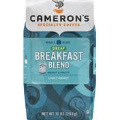 Camerons Coffee, Whole Bean, Light Roast, Breakfast Blend, Decaf