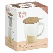 Pinky Up Tea Mug & Infuser, Ceramic, 12 Ounce