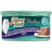 Purely Fancy Feast Medleys Pate Ocean Whitefish & Tuna Florentine With Cheese & Garden Greens Wet Cat Food