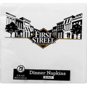 First Street Dinner Napkins, 3-Ply, White
