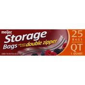 Meijer Storage Bags, Reclosable, 1 Quart