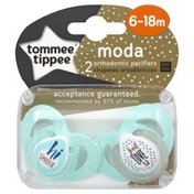 Tommee Tippee Pacifiers, Orthodontic, Moda, 6-18 Months