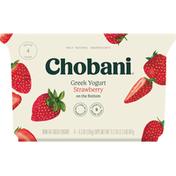 Chobani Yogurt, Greek, Non-Fat, Strawberry, 4 Pack