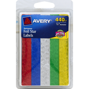 Avery Foil Star Labels, Permanent