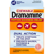 Dramamine Motion Sickness Relief, 50 mg, Chewable Tablets, Orange Flavored