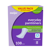 Meijer Everyday Pantiliners, Long Length, Unscented