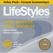 LifeStyles Latex Condoms, Premium, Lubricated, Ultra Sensitive, Value Pack