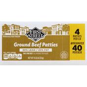 First Street Ground Beef Patties, 80%/20%