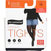 No nonsense Tights, Black, Opaque, Size 1X