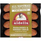 Aidells Smoked Chicken Sausage, Habanero & Green Chile, Twin Pack, 24 oz. (8 Fu