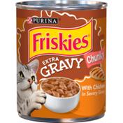 Purina Friskies Gravy Wet Cat Food, Extra Gravy Chunky With Chicken in Savory Gravy