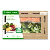 Home Chef Meal Kit Salmon And Raspberry Ginger Sauce With Broccoli And Zucchini Stir-Fry