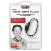 Care Medical History Bracelet, Black, Medium 7.5 Inch