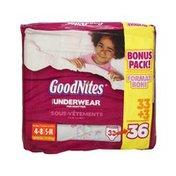 GoodNites Girls Size S-M Underwear For Nighttime - 36 CT