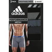 adidas Men's Sport Performance Mesh Boxer Briefs – 3 Pack - S - Black/Onix/Black