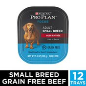 Purina Pro Plan Grain Free, High Protein Small Breed Pate Wet Dog Food, FOCUS Beef Entree in Sauce