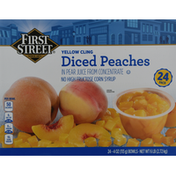 First Street Diced Peaches, Yellow Cling, 24 Pack