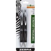 Zebra Gel Pens, Black Ink, Retractable, Medium Point (0.7 mm)