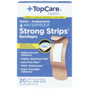 TopCare Strong Strips, Sterile Antibacterial Waterproof First Aid Antiseptic All One Size Bandages