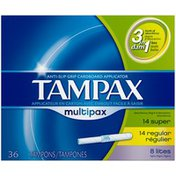 Tampax Multipax Cardboard Applicator Unscented Tampons 36 count Feminine Care