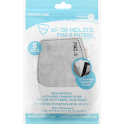 Al Shields PM2.5 Filters, Grey, Adult Size, 10 Pack