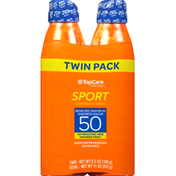 TopCare Sunscreen, Continuous Spray, Broad Spectrum SPF 50, Sport, Twin Pack