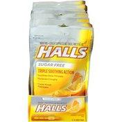 Halls Relief Sugar Free Honey Lemon Cough Suppressant/Oral Anesthetic Drops