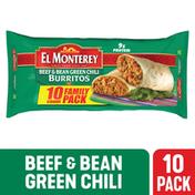 El Monterey Burritos, Beef & Bean Green Chili, Mild, Family Pack