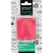 Smart Living Erasers, Medium, Beveled Edges, 2 Pack