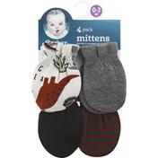 Gerber Mittens, 0-3 Months, 4 Pack