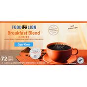 Food Lion Coffee, Light Roast, Breakfast Blend, Single Serve Cups
