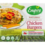 Empire Kosher Chicken Burgers, Natural