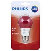 Philips Light Bulb, LED, Red, 8 Watts
