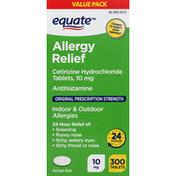 Equate Allergy Relief, Original Prescription Strength, 10 mg, Tablets, Value Pack