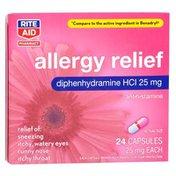 Rite Aid Pharmacy Allergy Medication, 25 mg, Capsules, 24 capsules