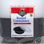 First Street Containers, Round, with Lids, 48 Fluid Ounces