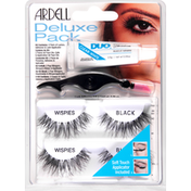 Ardell Lashes, Wispies, Black, Deluxe Pack