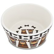 "Harmony Tough Guys Ceramic Dog Bowl 3"" H X 6"" Diameter"