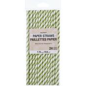 Creative Converting Paper Straws, Striped Fresh Lime/White, 7.75 Inch
