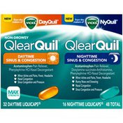 Vicks Allergy Relief Vicks QlearQuil Sinus & Congestion Relief, Day or Night 48 Count  Respiratory Care
