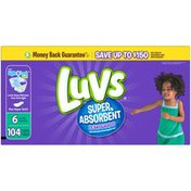 Luvs Super Absorbent Leakguards Newborn Diapers Size 6 104 count  Diapers