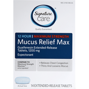 Signature Care Mucus Relief, Maximum Strength, 1200 mg, Extended-Release Tablets