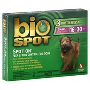 Bio Spot Flea & Tick Control, for Dogs, Small Size Dogs (16 to 30 Lbs)