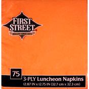 First Street Napkins, Luncheon, Sunkissed Orange, 3-Ply