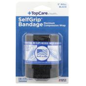 "TopCare Selfgrip, Maximum Compression Wrap Bandage 3"" Roll, Black"