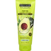 Freeman Clay Mask, Purifying, Avocado + Oatmeal, Normal to Combo Skin